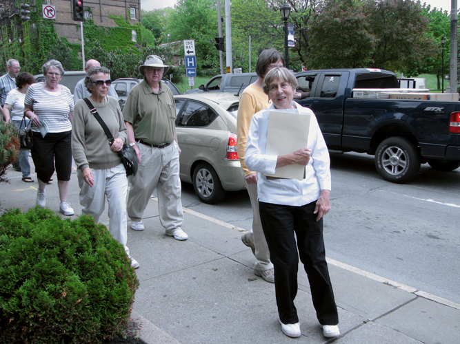 Jackie Murphy leads the lower Church Street walking tour